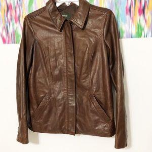 Eddie Bauer Womens brown leather jacket